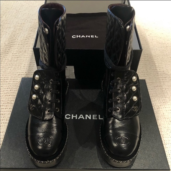 CHANEL Shoes   Pearl Combat Boots